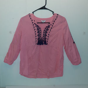 Crown and Ivy Pink Embroidered Tassel Shirt